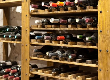 Wine Cellar with lots of old bottles photo