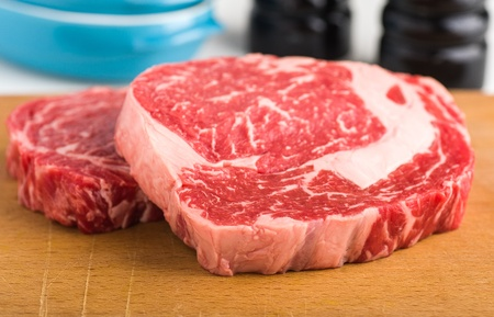 ribeye: Raw ribeye steak