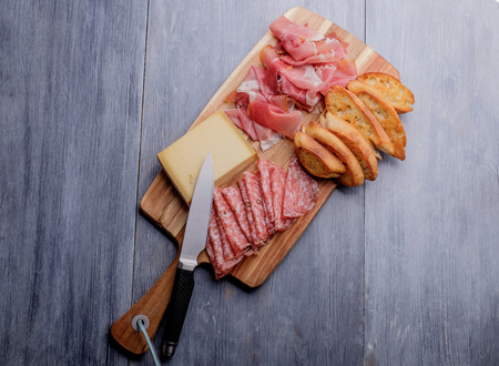 cheese platter: Antipasto plate with cheese salami and ham