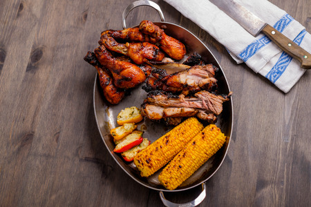 bbq picnic: Mixed grill on a plate