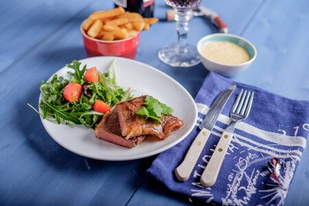 frites: Steak with pomme frites and bearnaise sauce