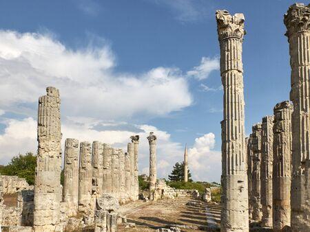 Corynthian columns of Zeus Olbios Temple, ancient Anatolian architecture of the Hellenistic period in the Roman province of Isauria, in present-day Uzuncaburc, Silifke, Mersin province, Turkey