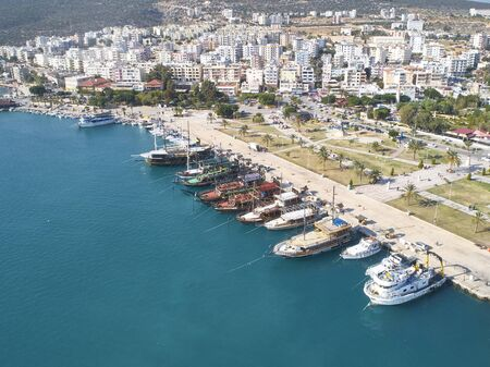 Aerial view of mediterranean town by the sea.