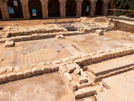 Mosaic elements on the remains of the ancient building. Kizkalesi, Mersin province, Turkey. 免版税图像