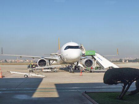 Adana airport, Turkey - December 2019. Airbus A321 neo at airfield.