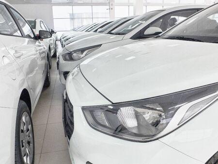 Row of new white sedan cars at car dealer showroom. Stock Photo