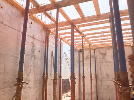 scaffoldings for a monolithic reinforced concrete floor slab of a residential building