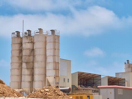 Concrete batching plant silos on the construction site.