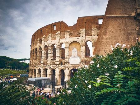 The Colosseum or Flavian Amphitheatre, Roman Forum, Rome, Italy