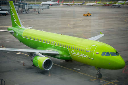 S7 Airlines original colorway plane at airfield. Domodedovo airport,Russia - August 2020