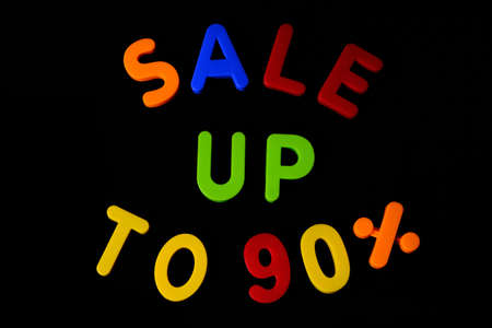 Inscription Sale up to 90 per cent against black background.Black friday concept Stockfoto