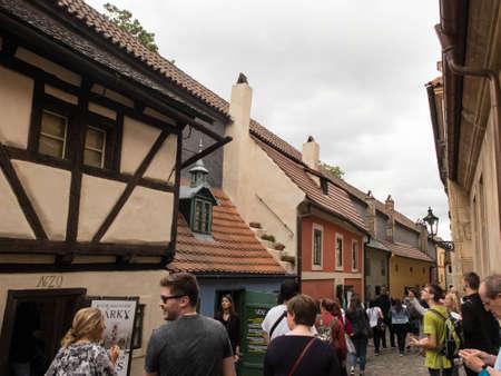 Tourists at Zlata ulicka, Prague, Czech Republic Editorial