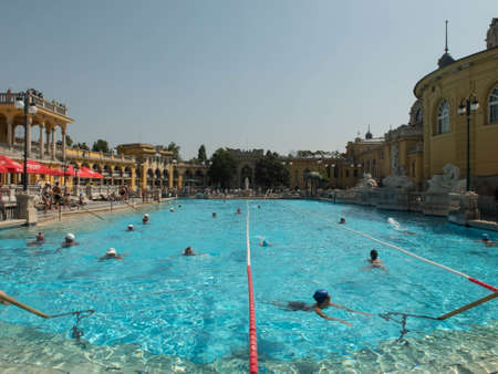 People in the swimming pool of Szechenyi Medicinal Bath Editorial