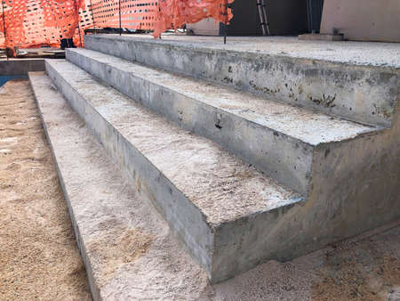 Newly built concrete stairway at construction site