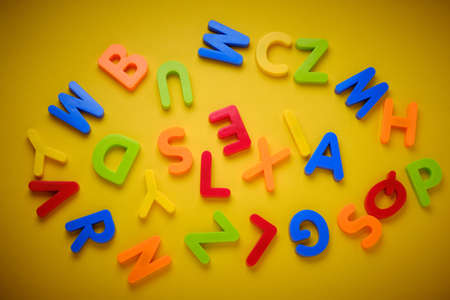Colorful messy plastic letters make word dyslexia