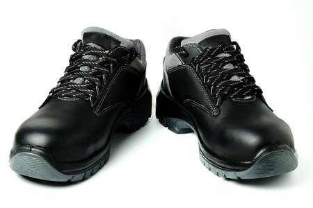 New black leather workboots isolated on white Stock Photo