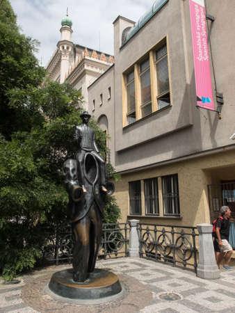 Statue of Franz Kafka, Jewish Quarter of Prague, Czech Republic