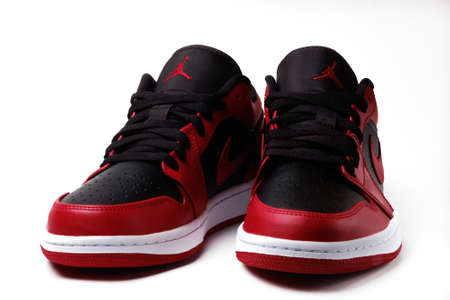 Nike Air Jordan 1 Retro Low Reverse Bred colorway sneakers isolated on white
