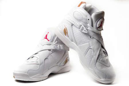 Nike Air Jordan 8 Retro OVO Drake White colorway sneakers isolated on white