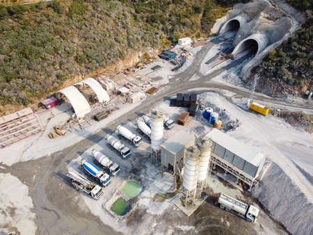 Interportal of motorway tunnel construction site aerial view Stock Photo