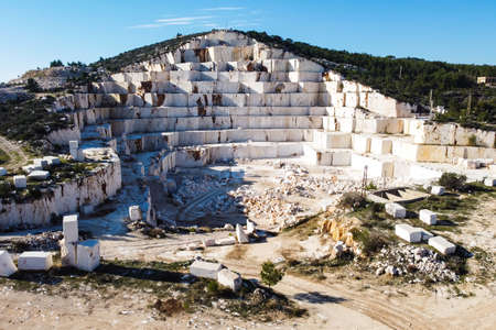 Sledges of marble quarry aerial view