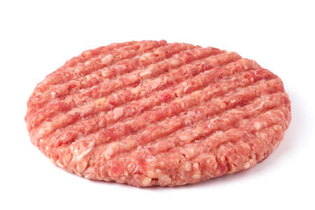 Raw beef burger cutlet isolated on white