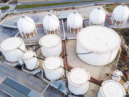 Storage tanks for liquefied natural gas Stock Photo