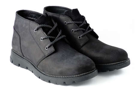 Black suede chukka boots isolated on white Stock Photo