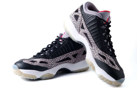 Nike Air Jordan XI IE low black cement colorway sneakers isolated on white