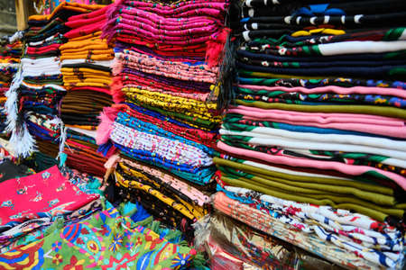 Traditional middle eastern shawls at bazaar