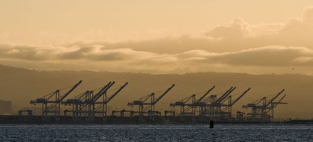 oakland: Port of Oakland cranes. Stock Photo