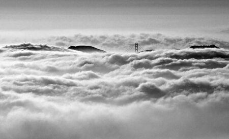 Golden Gate bridge in heavy fog Stock Photo