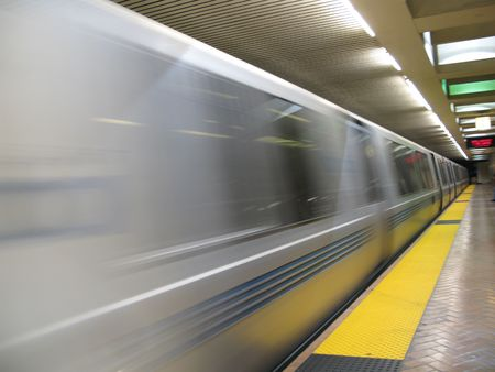 Fast moving BART train