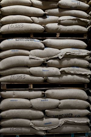 roasting: sacks of raw coffee beans in a warehouse