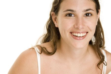 demure: An attractive and natural young woman with a great smile
