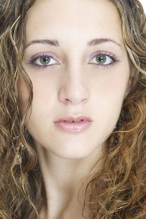 demure: Close-up of the face of a beautiful model Stock Photo