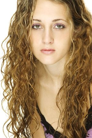 demure: A beautiful young female model with great hair