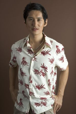japenese: A relaxed asian male model in a casual shirt