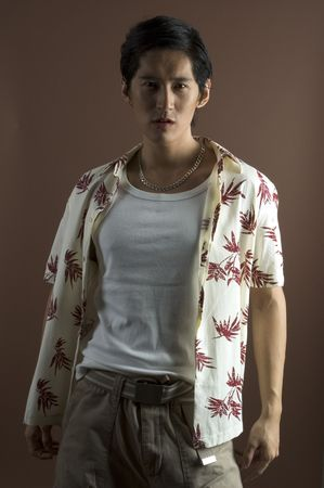 japenese: An asian male model in casual clothing