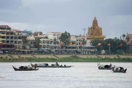 mekong: A flotilla of boats on the Mekong River, Phnom Penh