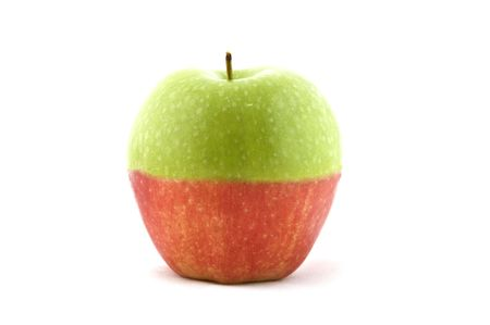 An apple made up of half green, half red