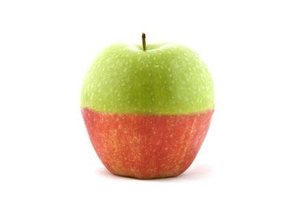 mismatch: An apple made up of half green, half red