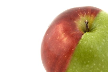 mismatch: An apple made from half a green and half a red apple Stock Photo
