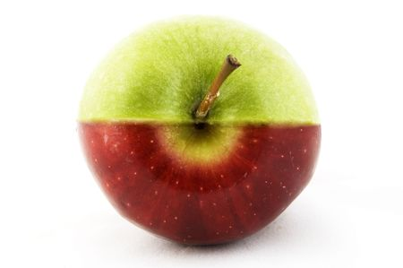 mismatch: An apple made from half a red and half a green apple Stock Photo