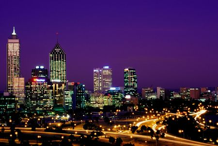 perth: Perth, Australia at Dusk Stock Photo