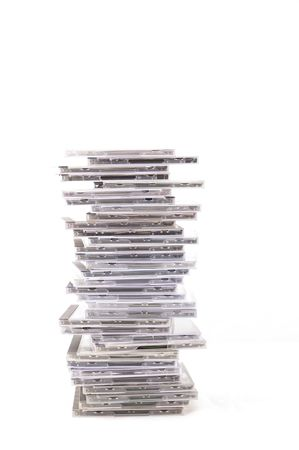 cds: a stack of CDs on white background