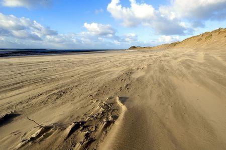 a windswept beach in North Devon, England photo