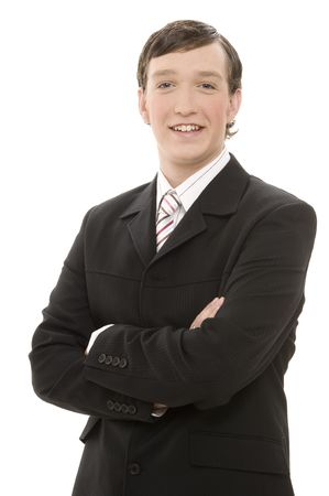 A young businessman in a dark pin-striped suit - smiling Stock Photo - 243492