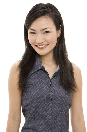 A beautiful young asian woman in a light grey pinstriped business suit Stock Photo - 243495