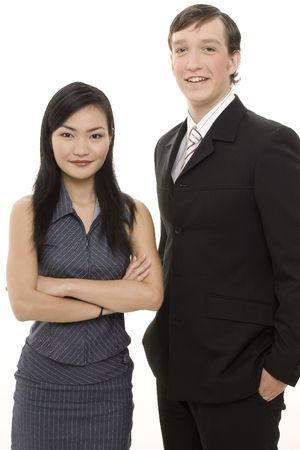 A handsome businessman and beautiful businesswoman in formal dress Stock Photo - 243483